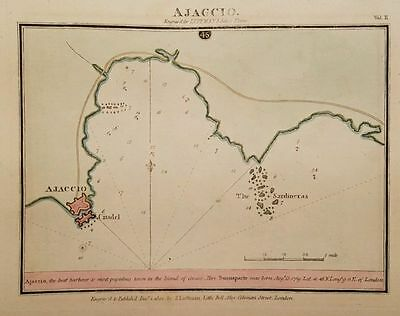 Antique Map AJACCIO Corsica France Hand Colored Engr Luffman Select Plans 1801