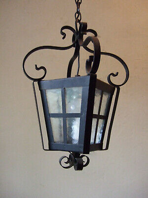 Antique Vintage French Forged Iron & Glass  Lantern Chandelier  Hall Light