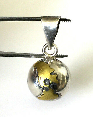 Vintage Sterling Silver 925 Brass Mexico Globe Chime Ball Pendant