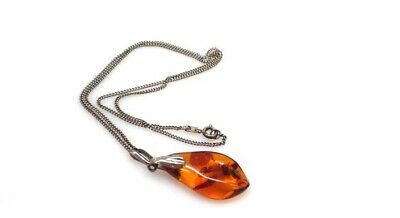 Vintage Real Baltic Amber 835 Silver Pendant / Chain / Necklace Norway Sterling