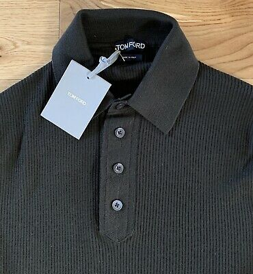 18b2182b Tom Ford Mens Fine Ribbed Merino Wool Polo L/sleeve Shirt Eu 52 Large Brown