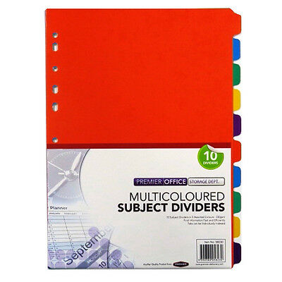 A4 Multi Coloured Card Subject Dividers - Pack of 10, Size 298mm x 225mm