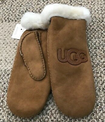 UGG Womens Sheepskin Heritage Logo Winter Mittens Chestnut Size L XL Fully Lined