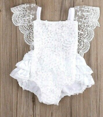 DARLING Satin & Lace Romper Outfit Baby Doll For Reborn Newborn WHITE w/Pink