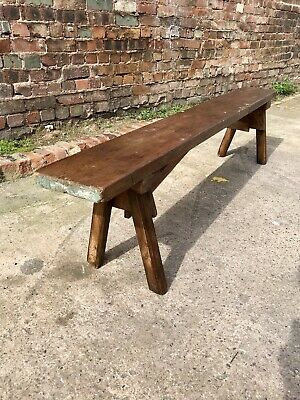 Vintage Mid 20th Century Rustic Pine Bench Industrial Hall/Dining Country House