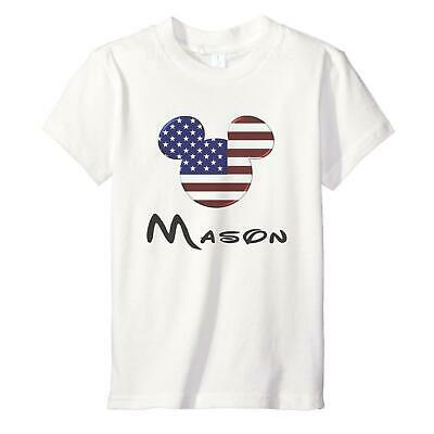 Personalised American Mickey - Childrens Kids T-Shirt - 2-12 Year Disney Holiday