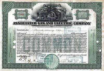 Associated Gas and Electric Company, New York, 1920 (60 Shares) + Tax-Marken