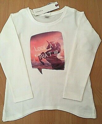 Esprit Girl's Cotton Mix Off White Long Sleeve Top With Unicorn Print 4-5 Years
