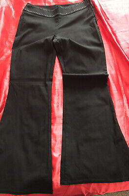 Ladies M&S Black Trousers with Diamond Detail On Belt Size 12medium Occasion