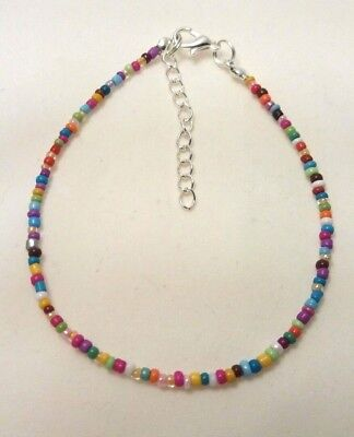 "Rainbow Opaque Handmade Seed Bead Ankle Bracelet Chain Anklet 9"" + Extender"