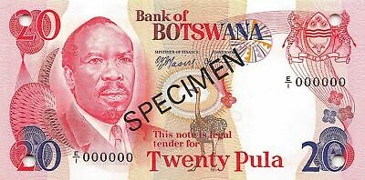 Botswana 20 Pula  ND.1979 P 5as1 Series E/1  Specimen Uncirculated Banknote Af25