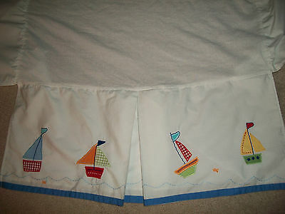 Pottery Barn Kids White Blue Pleated Sailboat Crib Toddler Bed Skirt Fish