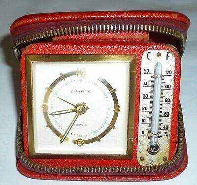 Art Deco EUROPA TRAVEL CLOCK & THERMOMETER, Very Collectable.