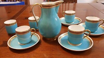 Superb duck egg blue and gilt antique tea set