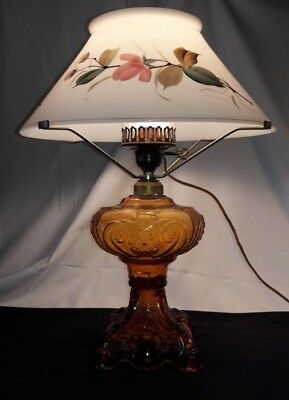 Amber Princess Feather Oil Kerosene Lamp~Painted Opaque Milk Glass Shade