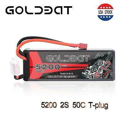 5200mAh 50C 7.4V 2S LiPo Battery Hardcase Deans T Plug for RC Car Truck Buggy