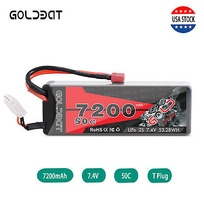 GOLDBAT 7.4V 7200mAh 50C 2S LiPo Battery Deans Plug Hardcase for RC Car Truck