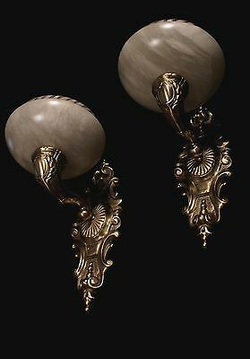 Alabaster wall lights sconces solid bronze by europeanlighting