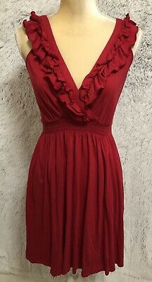 EXPRESS Dress XS Red Halter Crossover Wrap Polyester Lined NWT V47