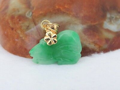 18K Solid Gold Icy Green Jadeite Jade Chinese Zodiac Rat Carved Pendant