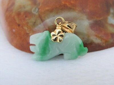 18K Solid Gold Green, White Jadeite Jade Chinese Zodiac Tiger Carved Pendant