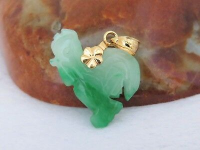 Vintage 18K Gold Natural Green White Jadeite Jade Chinese Zodiac Rooster Pendant