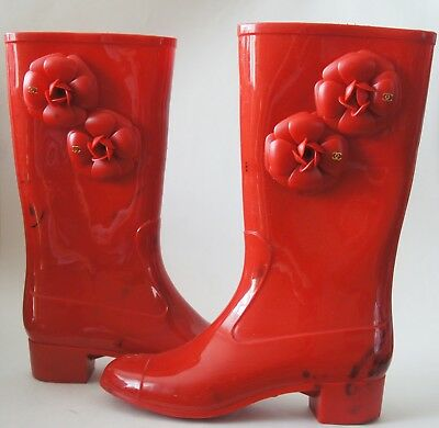 ac4dbed2f CHANEL RED RUBBER CC Logo Camellia Rain Boots Size 38 - $299.99 ...