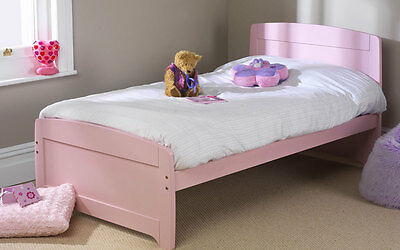 Solid Pine 3Ft Rainbow Bed Pink Available In 3 Colours Frame Only Mattress Extra