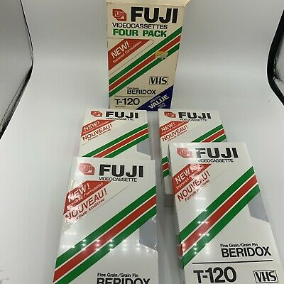 Fuji T-120 VHS Videocassettes Four Pack New Old Stock In Original Package