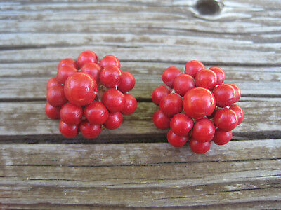 Vintage West Germany Earring Red Wood Wooden Beads Clip On W German Retro