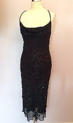 Black Silk Beaded & Sequinned Strappy Cocktail Dress Size 10/12