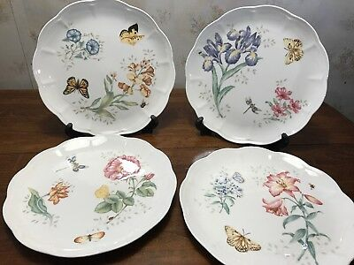 Lenox Butterfly Meadow Set Of 4 Different Designs Scalloped Dinner Plates Vgc