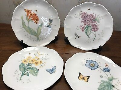 Lenox Butterfly Meadow Set Of 4 Different Designs Scalloped Salad  Plates Vgc