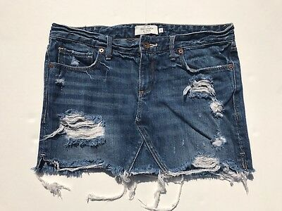 a575f404da WOMENS 0 ABERCROMBIE Fitch denim blue destroyed micro mini skirt 31 ...