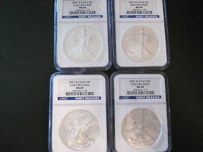 2007 W silver $1 American Eagle NGC MS69, Early Release