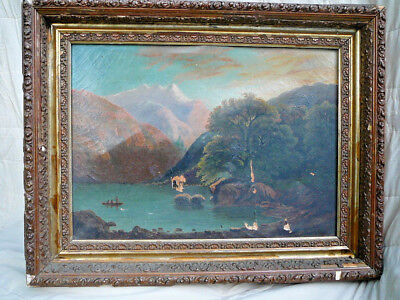 Hudson River School American Artist Hand Painted Oil On Canvas Lake Mountains