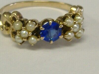 Vintage Solid 10K Gold   Blue Stone And Seed Pearls Ring Size 6.75
