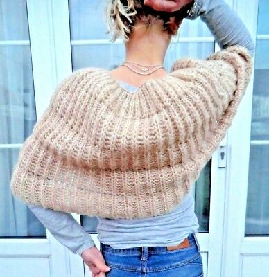 Rare Vintage Hand Knitted Wool Shoulder wrap crochet sweater shawl bed jacket