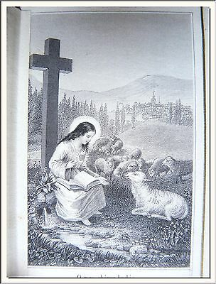 """ANTIQUE 1870's """"THE CORRAL of JESUS CHILD"""" FRENCH DOUBLE CANIVET LACE HOLY CARD"""