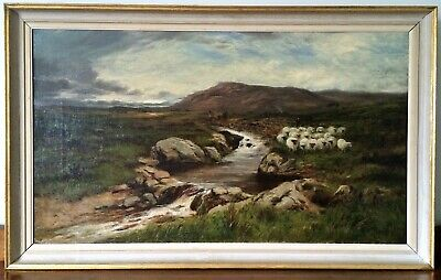 Antique Alexander Fraser Jr. Oil Painting 'The Life on the Road to the Lake'