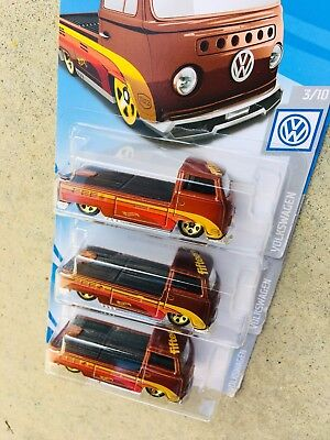 2019 Hot Wheels Vw Volkswagen T2 Pickup Rootbeer Non Super Lot Of 3 Cars