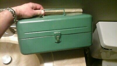 Vintage Metal Army Green Victor Fishing Tackle Box