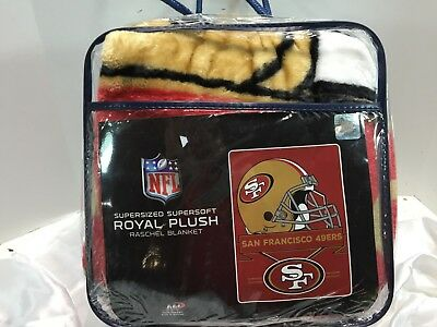 61a6a491307 San Francisco 49ers Football Royal Plush Raschel Throw Blanket 80X60  supersized