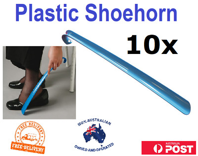 10 x Plastic Shoe Horns Shoehorn 16 inches Long Aid Free Delivery Blue