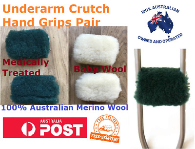 100% Merino Wool Pair of Crutch Hand Grip Covers For Underarm Crutches NEW