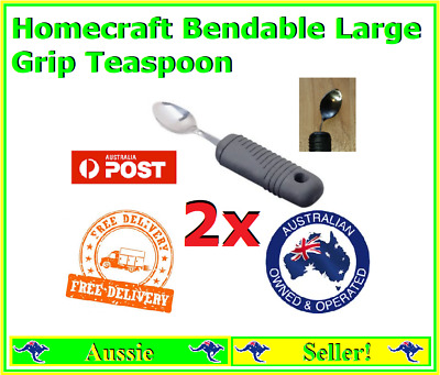 2x Homecraft bendable teaspoon Rubber Grip Living Aid NEW Freight