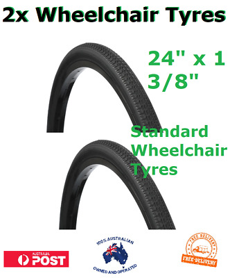"2x Tyres 24"" x 1 3/8 Inch Black Wheelchair Wheel chair Pneumatic Tyre NEW"