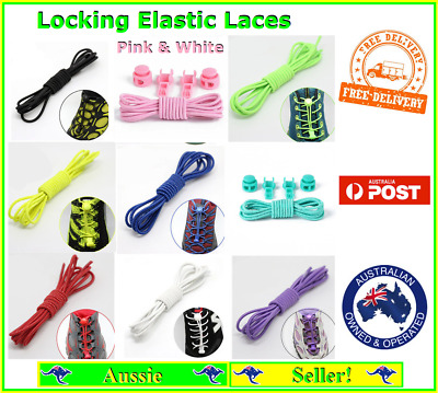 Shoe Lock Laces Unsiex Adults Kids Elastic Locking Shoelaces Sports Sneaker NEW