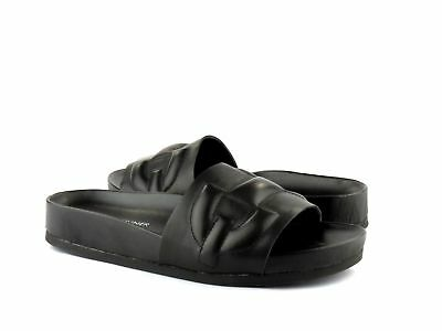 18de7407940 Donald J Pliner Buoy Black Genuine Nappa Leather Slide Platform Sandal NEW 8