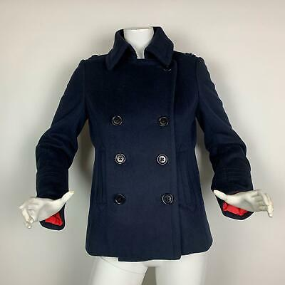 744eaa058 J Crew Coat Peacoat 100% Wool Thermore Navy Blue Double Breasted Women S